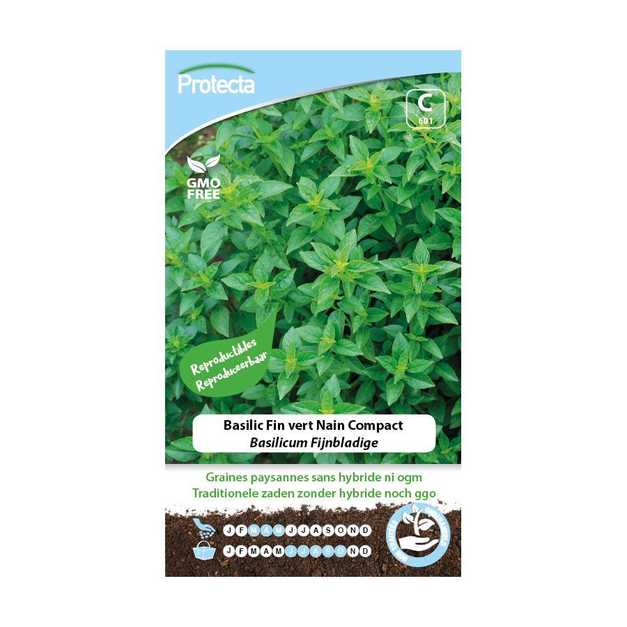 Protecta - Graines paysannes Basilic Fin Vert Nain Compact