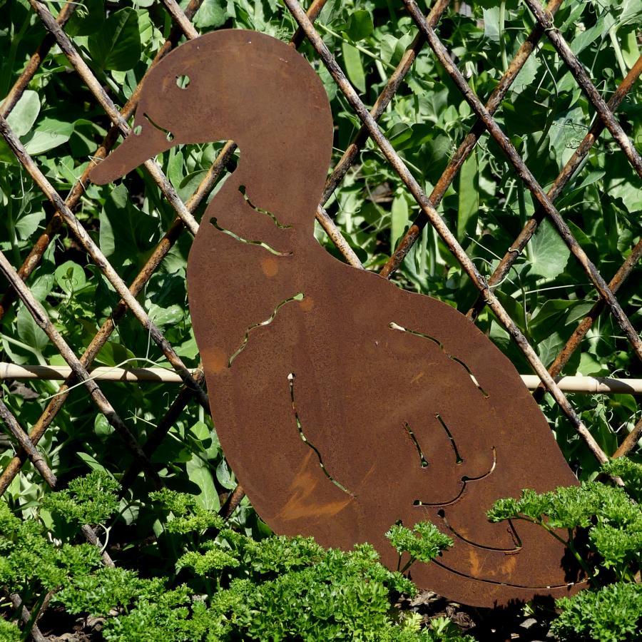 Canard debout à poser en fer rouillé