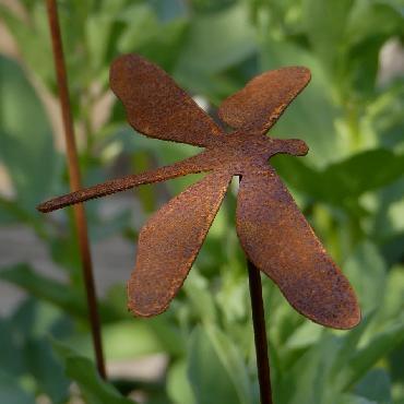 Grande libellule à piquer en fer rouillé