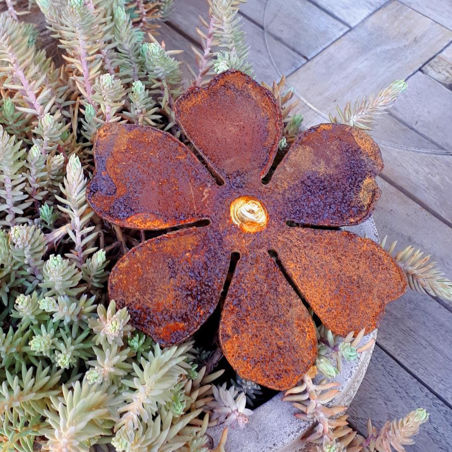 Grande fleur avec pique en fer rouillé