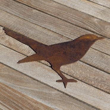 Oiseau merle debout avec pique en fer rouillé