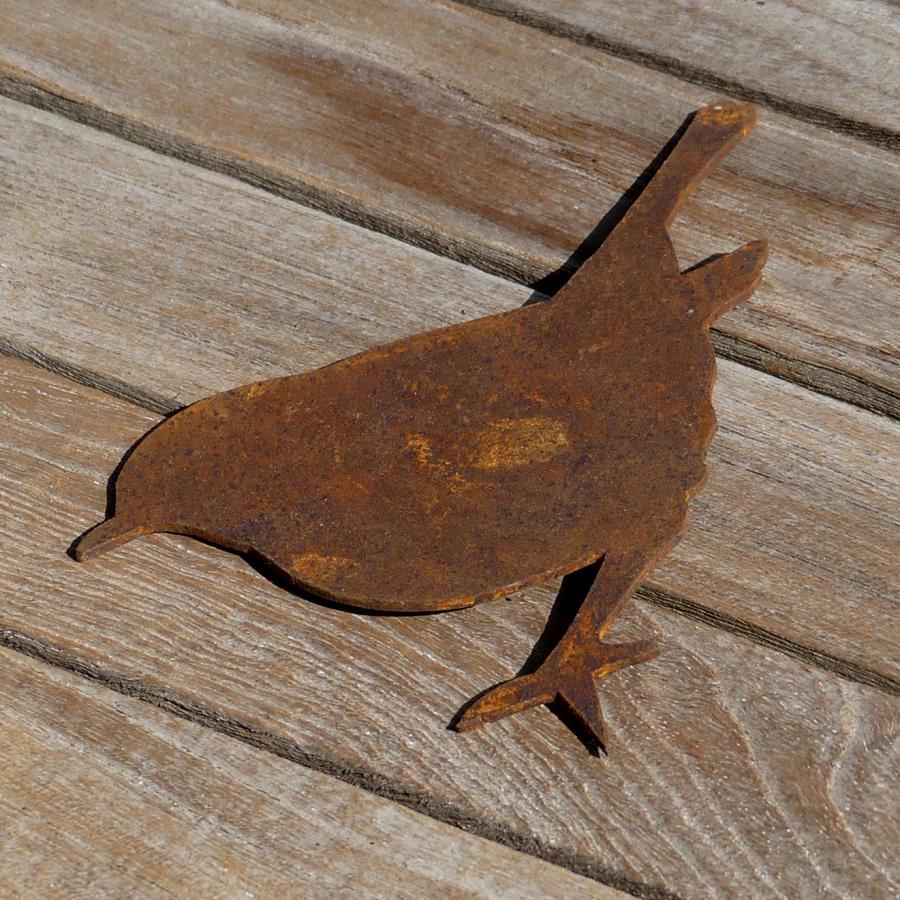 Oiseau roitelet debout avec pique en fer rouillé