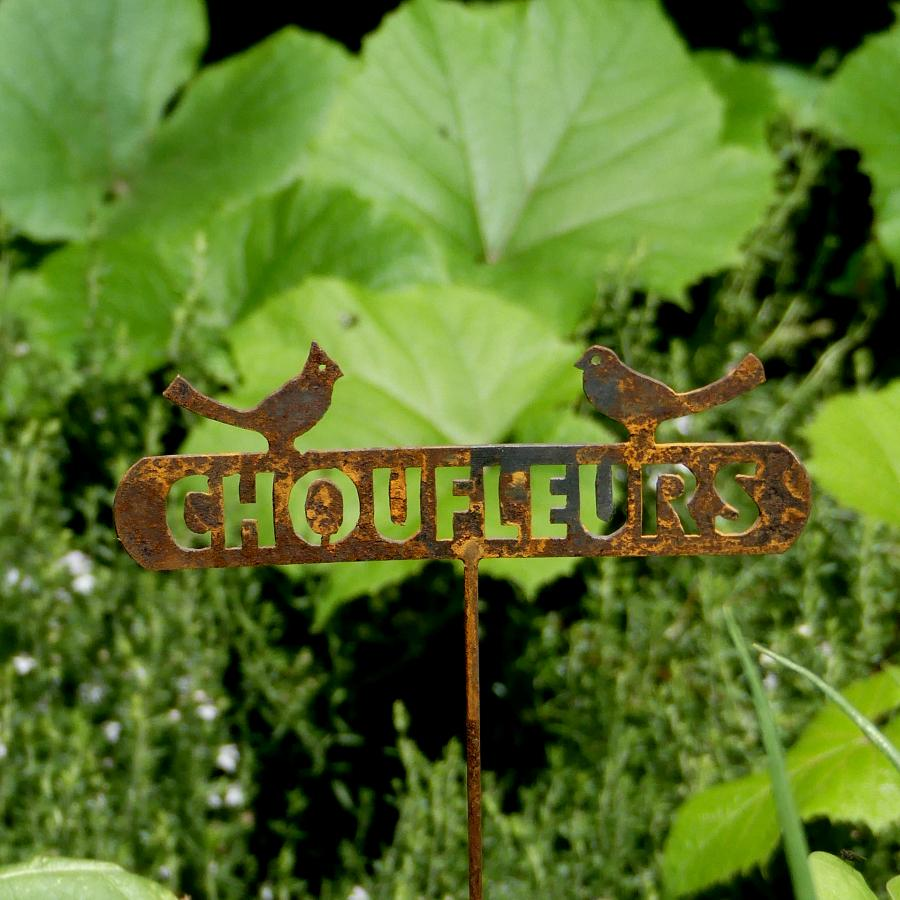 Etiquette potagère chou-fleur à piquer en fer rouillé
