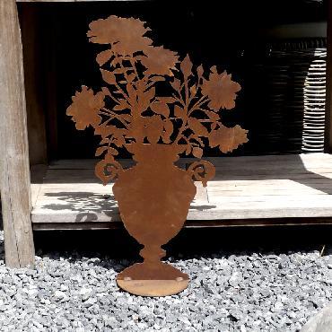 Vase de roses à poser en fer rouillé