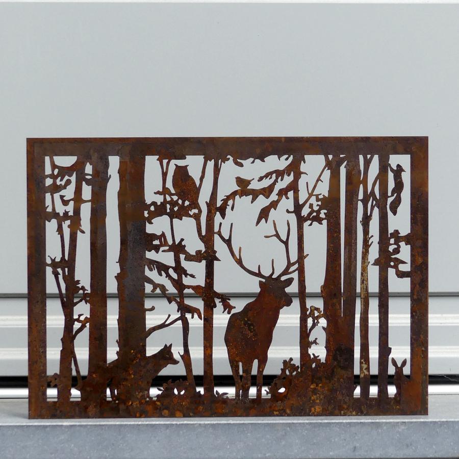 Cadre décoratif forêt à poser en fer rouillé