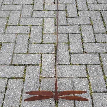 Libellule avec ailes pleines à piquer en fer rouillé
