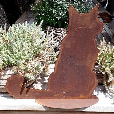 Chat persan assis à poser en fer rouillé