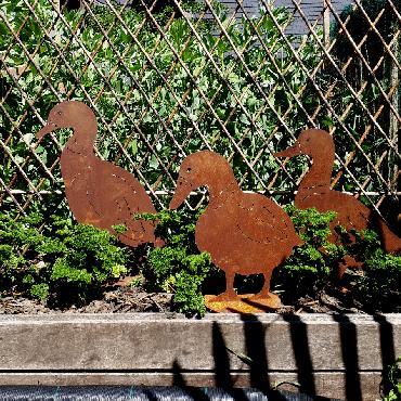 Canard de côté à poser en fer rouillé
