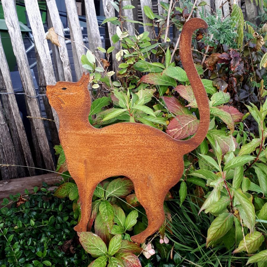 Chat debout à piquer en fer rouillé