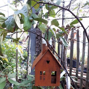 Mangeoire oiseaux section carrée à suspendre ou à poser en fer rouillé