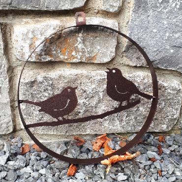 Cercle décoratif 2 oiseaux diamètre 25 cm à suspendre ou à poser en fer brun
