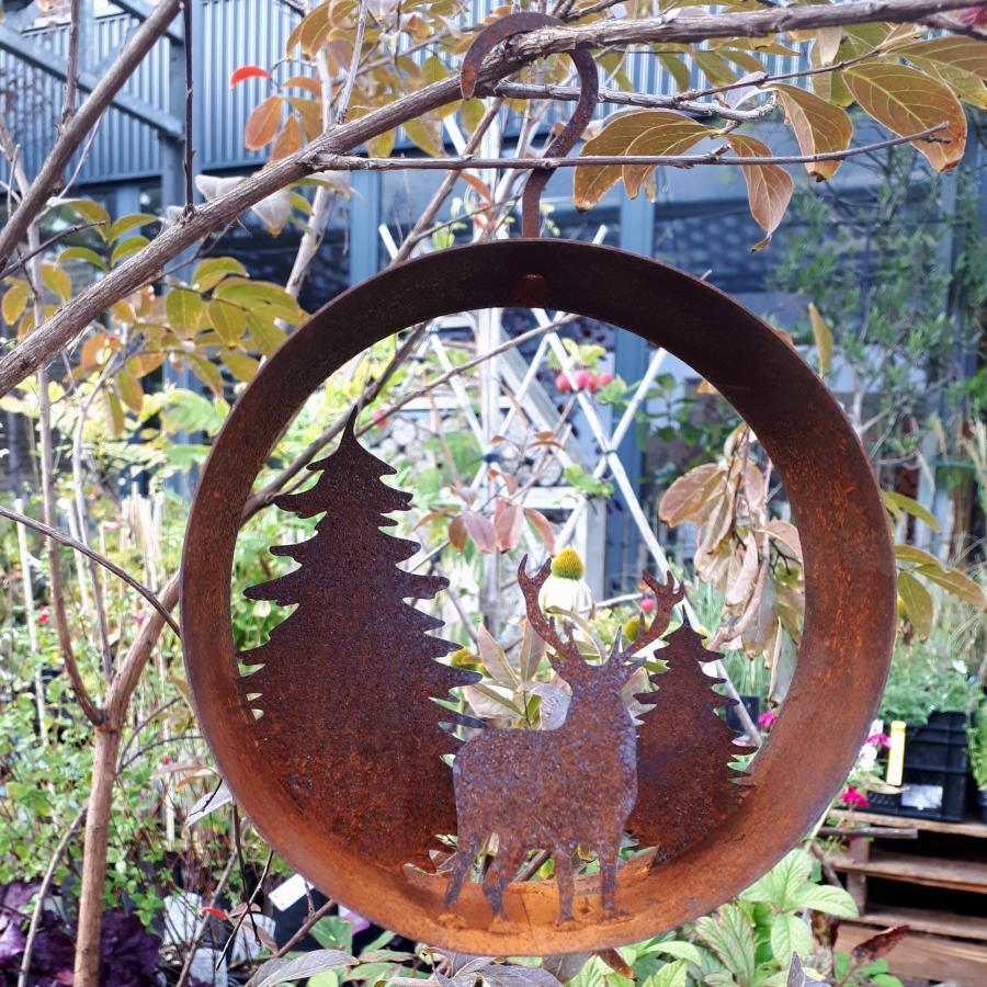Cercle décoratif forêt diamètre 15 cm à suspendre ou à poser en fer rouillé