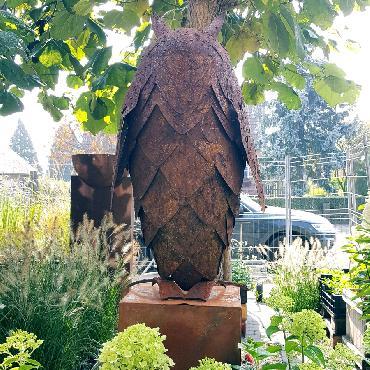 Grand hibou debout 60 cm de haut à poser en fer rouillé