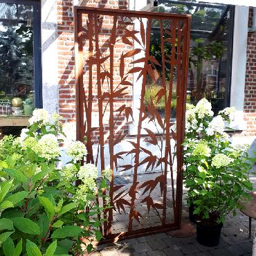 Grande palissade bambou à poser en fer rouillé