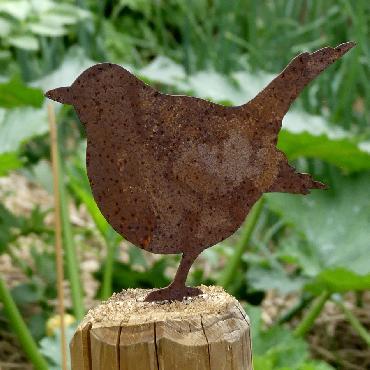 Oiseau gros merle avec pique en fer rouillé
