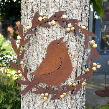 Petite couronne plate oiseau avec dorure diamètre 20cm à poser ou à suspendre en fer rouillé