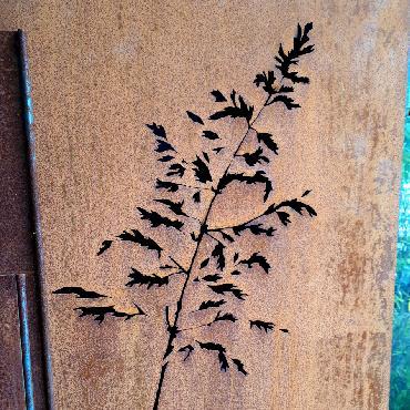 Pilastre graminées à poser en fer rouillé
