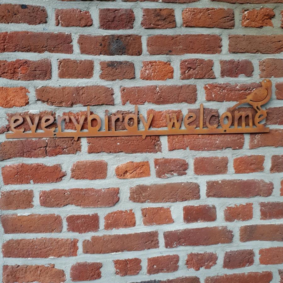 Décoration murale everybirdy welcome à fixer ou à poser en fer rouillé