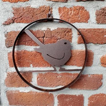 Cercle décoratif oiseau diamètre 22 cm à suspendre ou à poser en fer brun