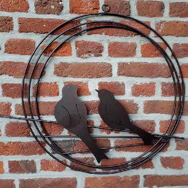 Cercle décoratif 2 oiseaux diamètre 55 cm à suspendre ou à poser en fer brun