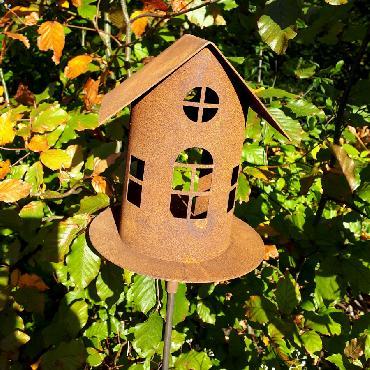Grande mangeoire oiseaux section ronde toit à 2 versants à piquer en fer rouillé