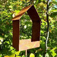 Mangeoire oiseaux ouverte à piquer en fer rouillé