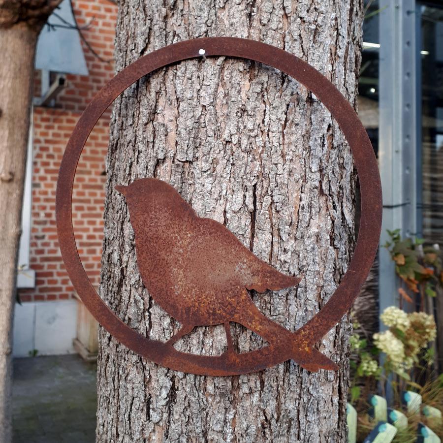 Anneau oiseau diamètre 20 cm à suspendre ou à poser en fer rouille