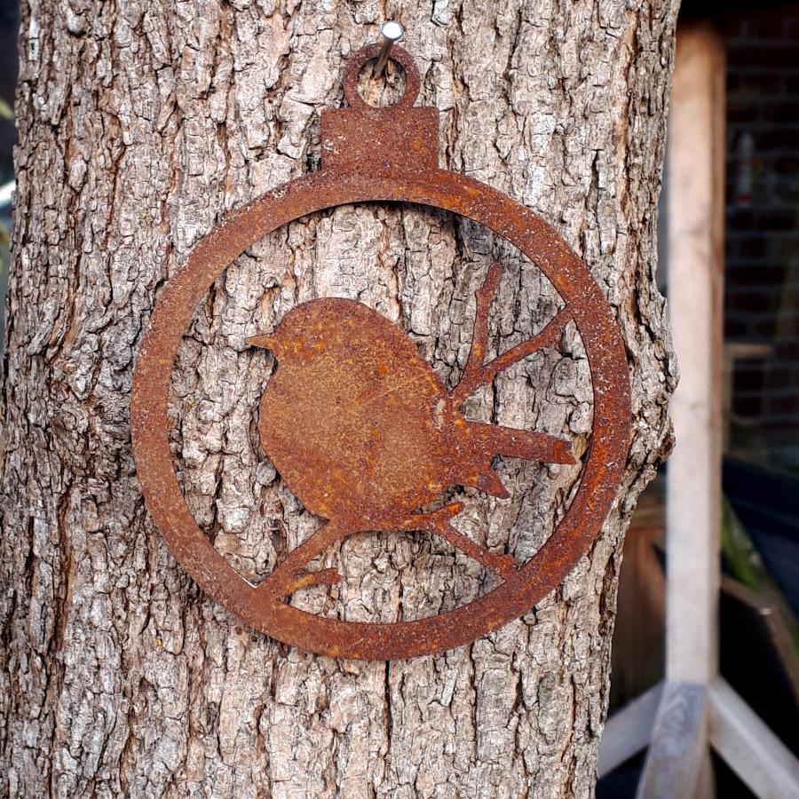 Boule Noël oiseau branche ouverte diamètre 10 cm à suspendre en fer rouillé