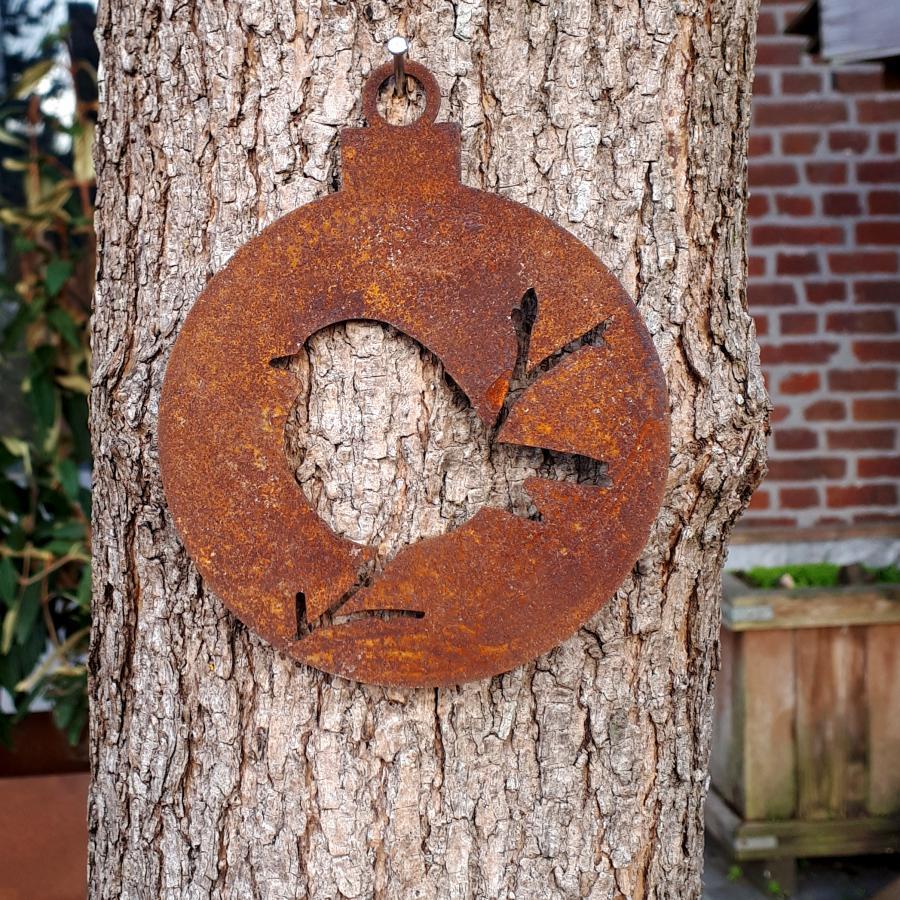 Boule Noël oiseau branche pleine diamètre 10 cm à suspendre en fer rouillé
