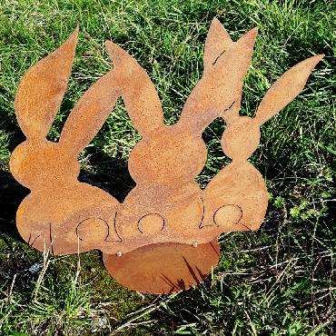 Trio lapins assis à poser en fer rouillé