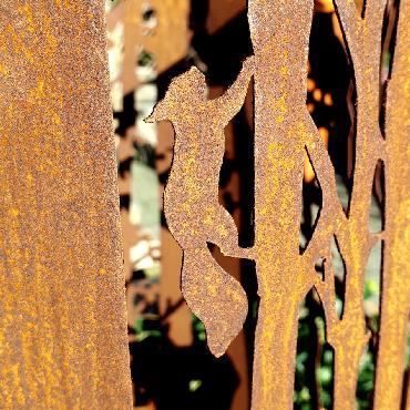 Photophore forêt à poser en fer rouillé
