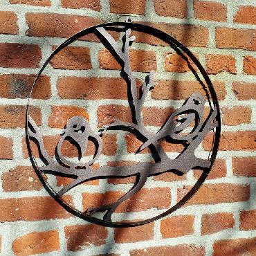 Cercle décoratif 2 oiseaux diamètre 45 cm à suspendre ou à poser en fer brun
