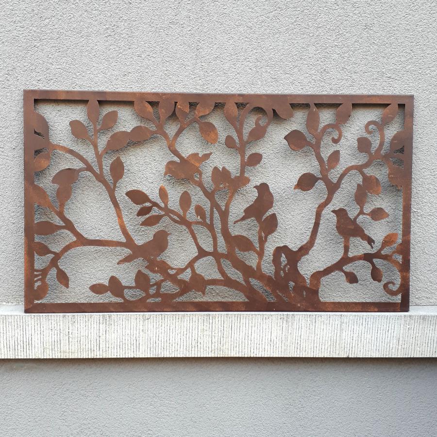 Cadre rectangulaire oiseaux et branches à suspendre en fer brun