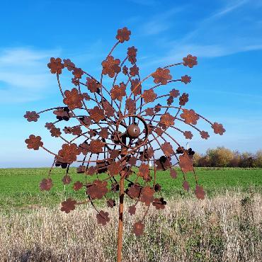 Eolienne fleurs diamètre 63cm à piquer en fer rouillé