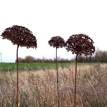 Grande fleur d'hortensia annabelle diamètre 31cm à piquer en fer rouillé