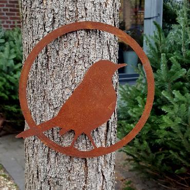 Anneau oiseau merle diamètre 22 cm à suspendre ou à poser en fer rouille