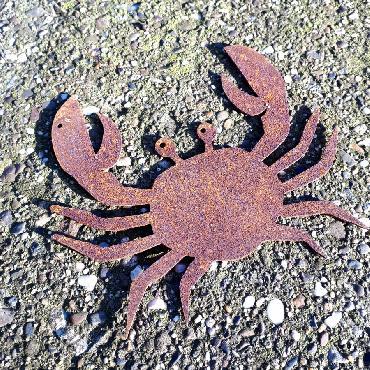 Crabe à suspendre ou à poser en fer rouillé