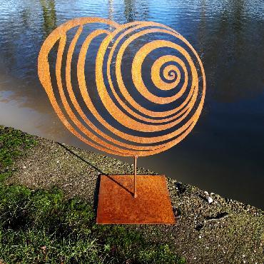 Grand coquillage Mer du Nord à poser en fer rouillé