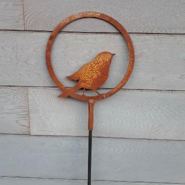 Anneau oiseau prêt à s'envoler diamètre 20 cm à piquer en fer rouille