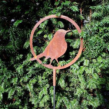 Anneau oiseau merle diamètre 22 cm à piquer en fer rouille