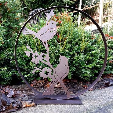 Cercle décoratif 2 oiseaux sur branche fleurie diamètre 30 cm à poser en fer brun