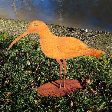 Oiseau courlis à poser en fer rouillé