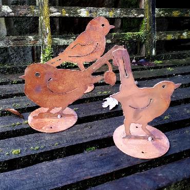 Trio de 3 oiseaux à poser en fer rouillé