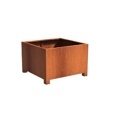 Pot carré ANDES avec pieds en acier corten 1200x1200x800 mm