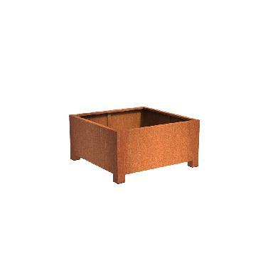Pot carré ANDES avec pieds en acier corten 1200x1200x600 mm