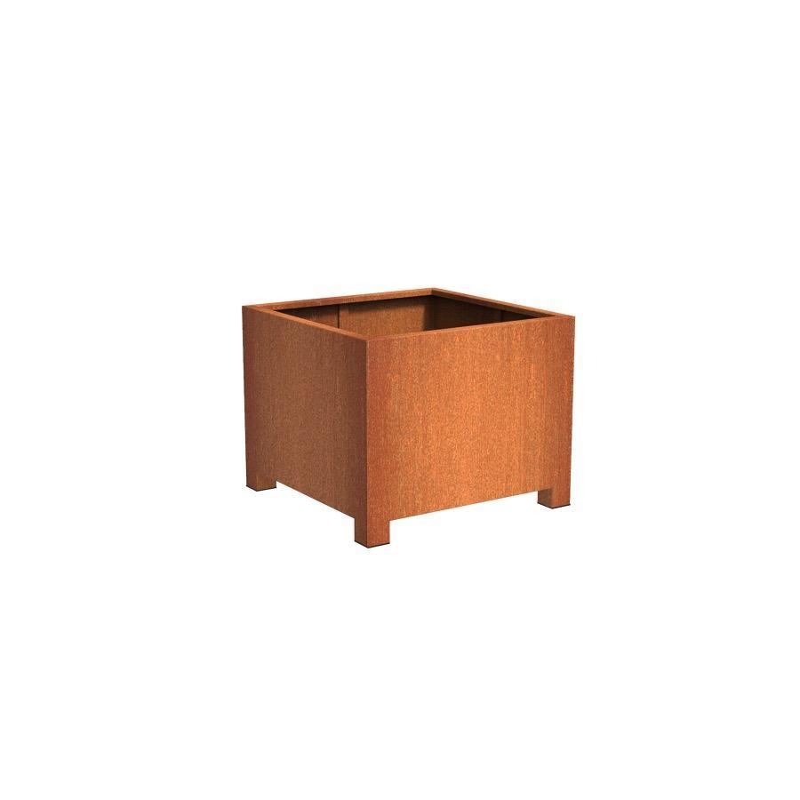 Pot carré ANDES avec pieds en acier corten 1000x1000x800 mm