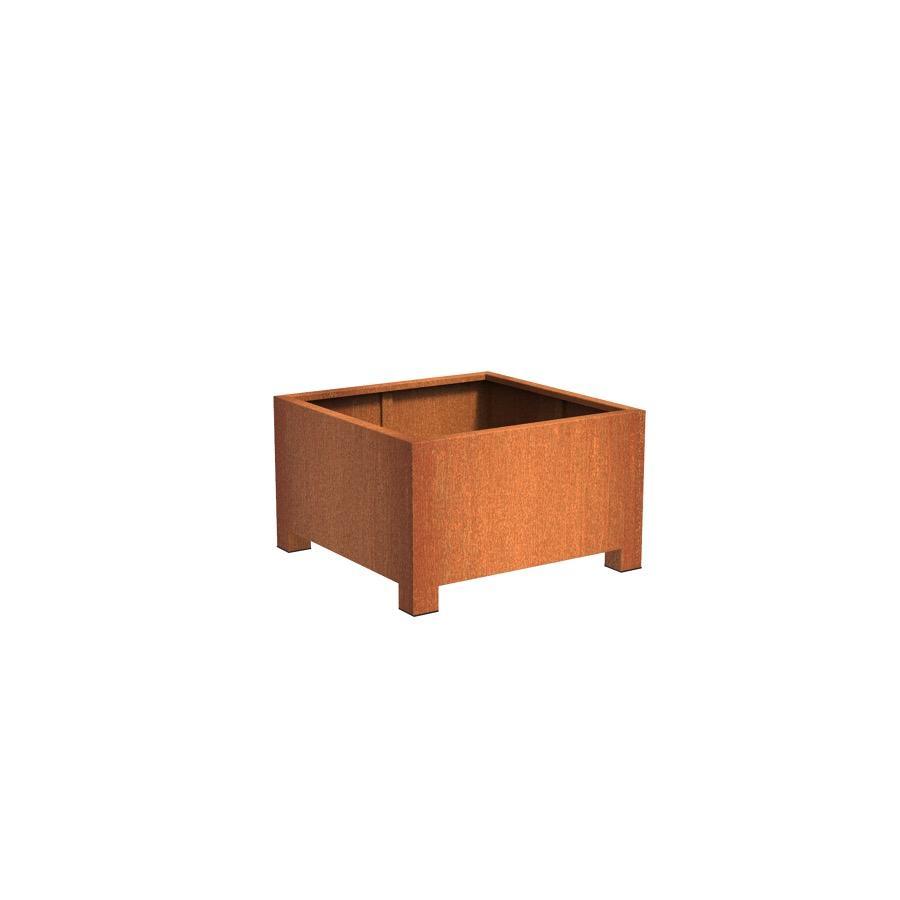 Pot carré ANDES avec pieds en acier corten 1000x1000x600 mm