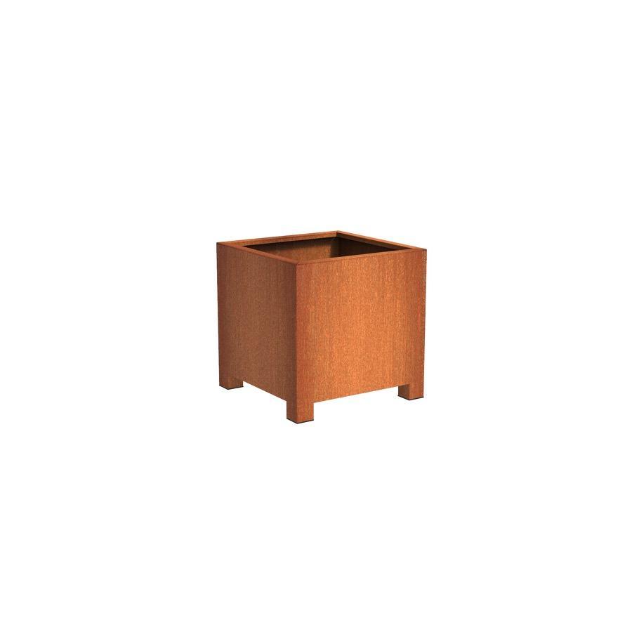 Pot carré ANDES avec pieds en acier corten 800x800x800 mm