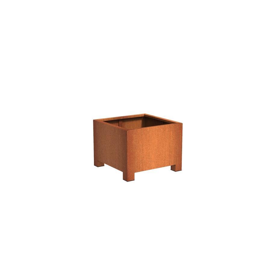 Pot carré ANDES avec pieds en acier corten 800x800x600 mm