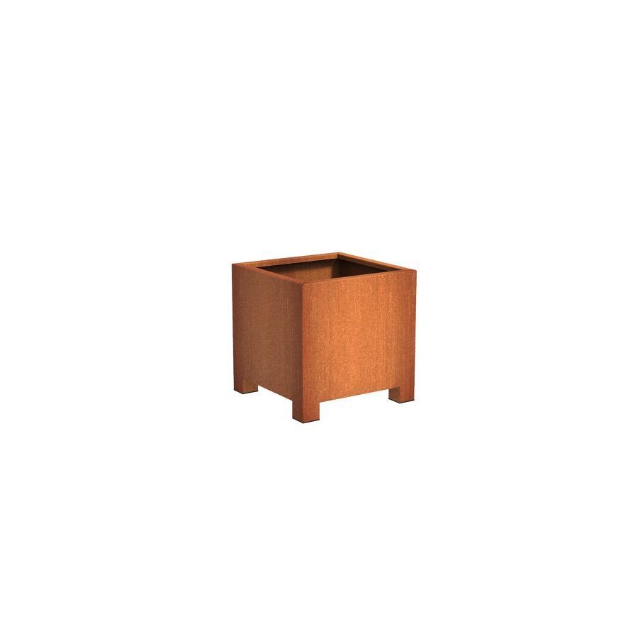 Pot carré ANDES avec pieds en acier corten 700x700x700 mm
